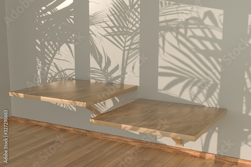 Empty room and shadows,wooden floor,3d rendering. Tapéta, Fotótapéta