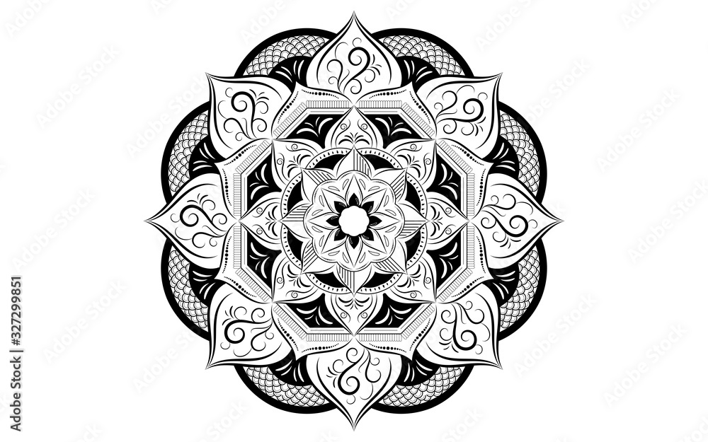 Fototapeta Circle pattern petal flower of mandala with black and white,Vector floral mandala relaxation patterns unique design with white background,Hand drawn pattern,concept meditation and relax