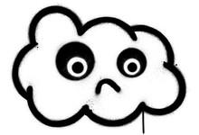 Graffiti Sad Cloud Icon Sprayed In Black Over White