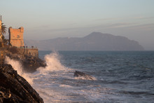 Rough Sea In Genoa Nervi,  Lig...