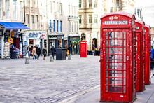 Red Telephone Box In Edimburgh Scotland