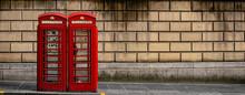 Panorama Of Red Telephone Box In Edimburgh Scotland