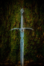 Magyc Sword On Moss Background.