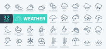 Weather Icons Pack. Thin Line Icons Set. Flaticon Collection Set. Simple Vector Icons