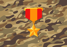 Vector Illustration Of A Gold Star Breastplate, A Medal On A Background Of Military Brown Camouflage