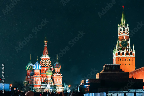 Saint Basil's Cathedral in Moscow on red Square at night in winter © alexkoral