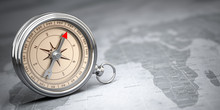 Compass On Vintage Old Map.  T...