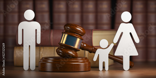 Divorce and custody child concept. Gavel and family silhouette on book background.