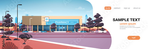Canvastavla modern drugstore front view pharmacy store building exterior in suburban area me