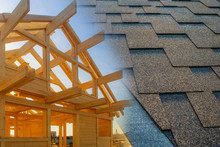 Types Of Roofing Materials. Frame Of A Wooden House And Soft Roof Tiles. Construction Of A Country House. Work On The Construction Of The Roof Of The Building.