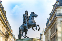 Statue Of King Louis XIV In Victory Square In Paris