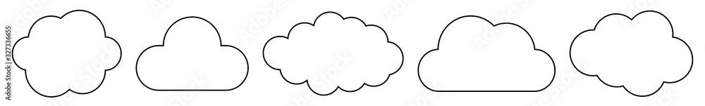 Fototapeta Cloud Icon Black Line | Clouds Illustration | Weather Climate Symbol | Computing Storage Logo | Cartoon Bubble Sign | Isolated | Variations