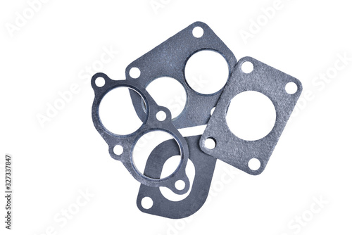 Fotomural gasket set of automotive paronite exhaust and intake manifold with metal inserts