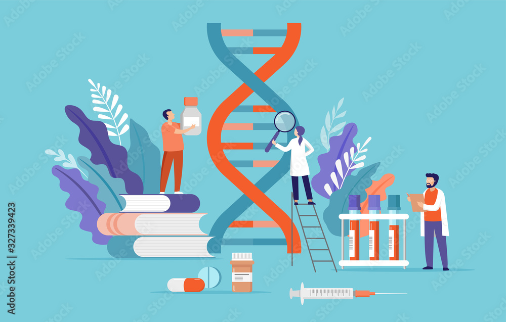 Fototapeta Research scientist. Science laboratory, chemistry scientists and clinical lab. Medical research items, clinical science laboratories experiments. Dna, genetic test concept vector illustration