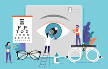 Research Scientist. Science Laboratory, Chemistry Scientists And Clinical Lab. Medical Research Items, Clinical Science Laboratories Experiments. Ophthalmology, Eye Test Concept Vector Illustration