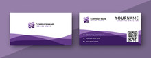 Purple Business Card Design. Modern Wavy Theme, Double Sided Business Card Design