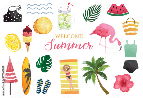 Valokuvatapetti Summer watercolor collection with watermelon,lemon,flamingo and ice creame