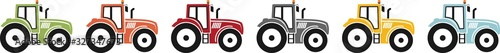 Fototapeta Coloured icon of a tractor for agriculture obraz