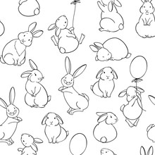 Seamless Pattern With Cute Rab...