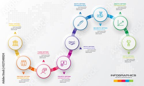 Fototapeta Circle timeline infographic template,Business concept with 9 options,Vector illustration. obraz