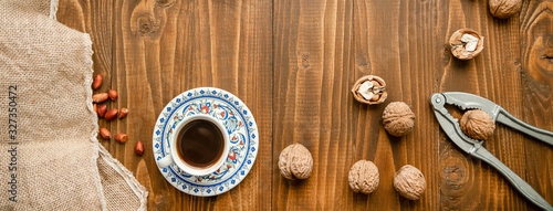 Baklava with nuts on a wooden background. Selective focus. Wallpaper Mural