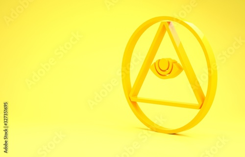 Fényképezés Yellow Masons symbol All-seeing eye of God icon isolated on yellow background