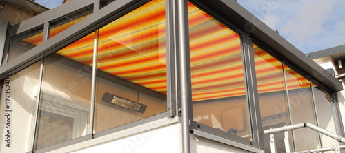 Fototapeta a modern new conservatory with awning
