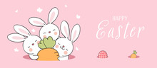 Draw Banner Cute Rabbit In Hole On Pink For Easter.