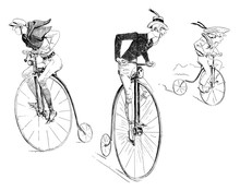 French Humor And Caricature: High Wheel Bicycle Riders, Two Men And A Kid Riding With Enthusiasm Penny-farthing  High Wheel Bicycles