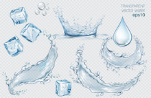 Set Of Blue Vector Water Splashes, Drops And Ice Cubes. Realistic Transparent Isolated Vector Illustration