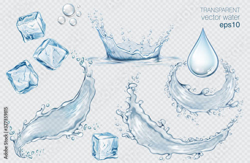 Fototapeta Set of blue vector water splashes, drops and ice cubes. Realistic transparent isolated vector illustration obraz