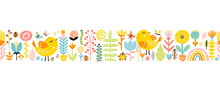 Spring Seamless Border Patern With Cute Cartoon Birds With Chickens, Flowers, Rainbow, Insects In A Colorful Palette. Vector Childish Illustration In Hand-drawn Scandinavian Style