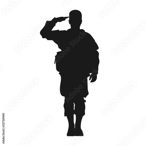 Tablou Canvas Standing military army soldier giving salute silhouette sign or symbol or icon or logo
