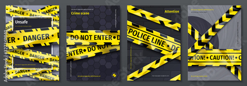 Obraz na plátne Caution tape posters