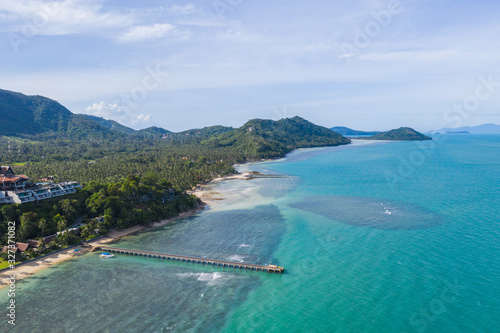 Aerial view of tropical island coastline Canvas Print