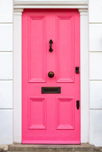 Stylish Pink Wooden Front Door
