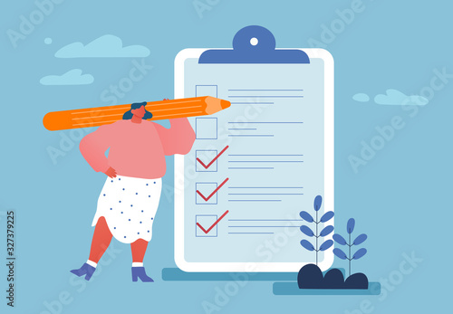 Business Lifestyle, Time Management. Businesswoman Holding Huge Pencil near Clip Board with To-do List or Tasks for Delegating to Partners and Coworkers in Office. Cartoon Flat Vector Illustration