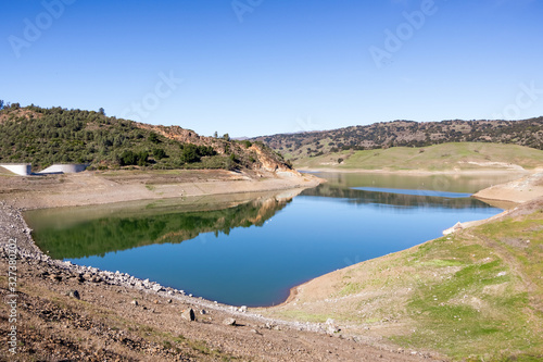 High angle view of Anderson Reservoir, a man made lake in Morgan Hill, managed b Wallpaper Mural