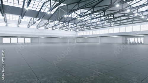 3D render of empty exhibition space. backdrop for exhibitions and events. Tile floor. Marketing mock up.