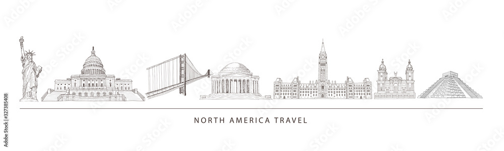 Fototapeta City travel landmarks, tourist attraction in various places of North America.