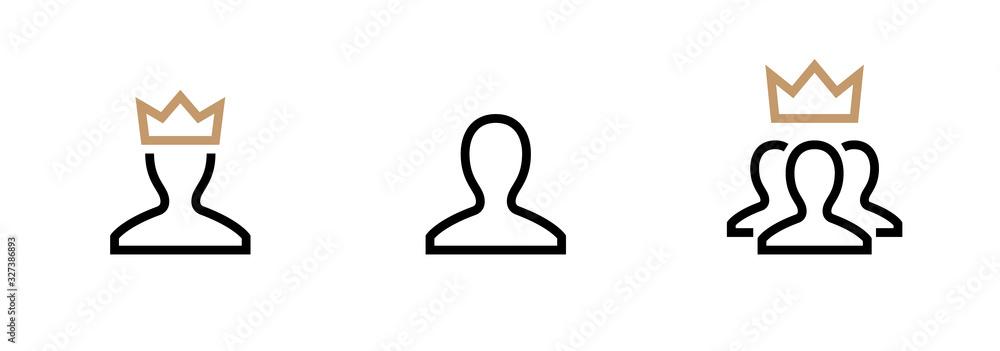 Fototapeta VIP Customer User icon vector. Person Profile Symbol. Avatar Sign. Editable stroke vector.