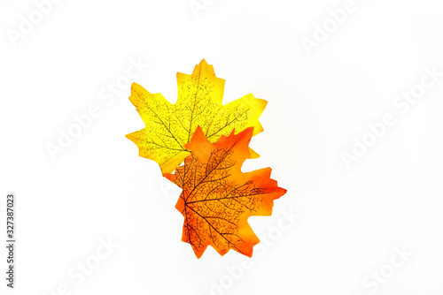 plastic artificial  maple leaf made from fabric isolated on white background Canvas Print