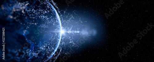Obraz Energy Digitalization and Communication technology for internet business. Global world network and telecommunication on earth and IoT. Elements of this image furnished by NASA - fototapety do salonu