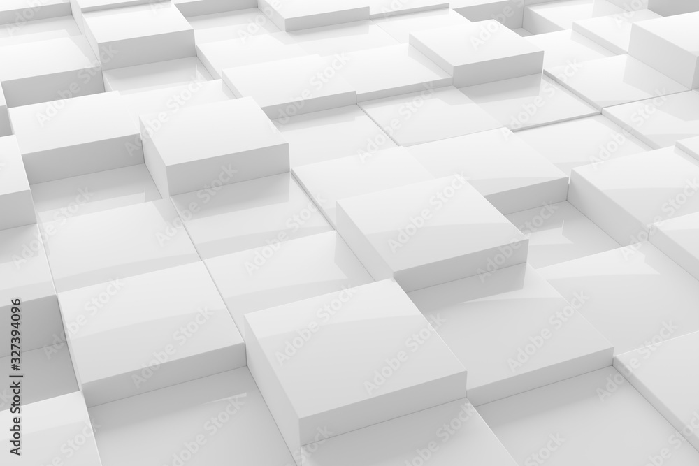 White modern shiny abstract geometrical cube array pattern background