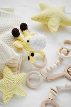 Knitted Toy Giraffe, Yellow St...