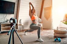 Athletic Woman Blogger In Spor...