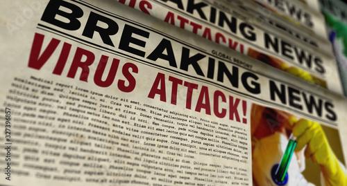 Photo Virus attack breaking news – newspaper printing press