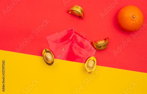 chinese, decroration in lunar new year , ang pow , text on gold mean wish to ric Canvas-taulu