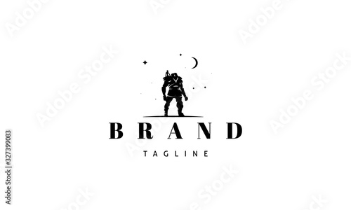 Fotomural Vector black logo on which an abstract image of a giant with a friend on his shoulders