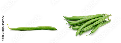 Fototapeta Green beans isolated on a white background obraz